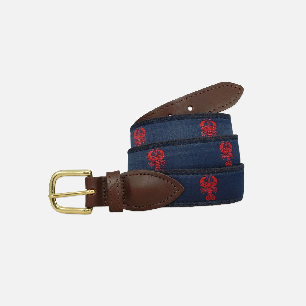 YRI Men's Ribbon Belt - Red Lobster on Navy Webbing