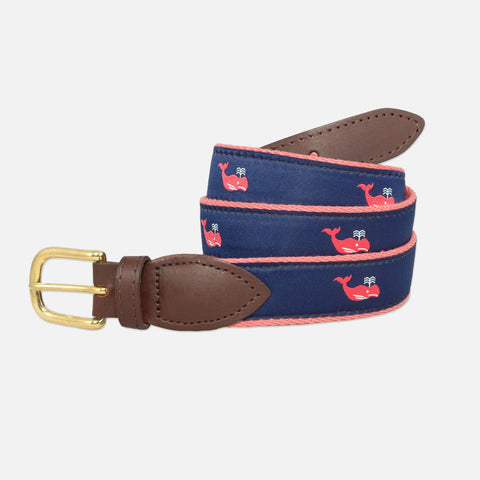 YRI Men's Ribbon Belt - Red Whale on Red Webbing