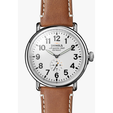 Shinola The Runwell 47MM Men's White Watch - Tan Leather Strap