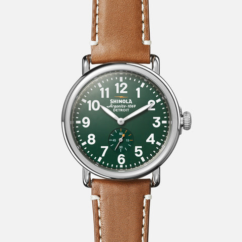 Shinola The Runwell 41MM Men's Green Watch - Maple Leather Strap