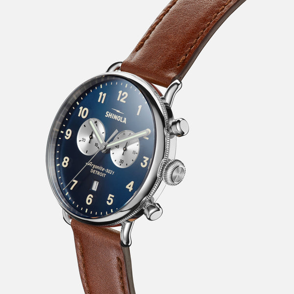 Shinola The Canfield Chrono 43MM Men's Blue Watch - Dark Cognac Leather Strap