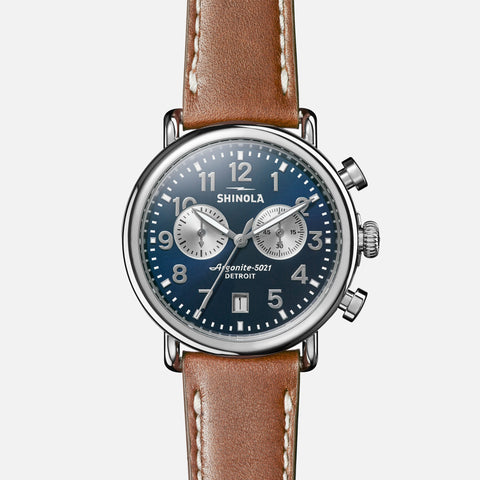 Shinola The Runwell Chrono 41MM Men's Blue Watch - Tan Leather Strap