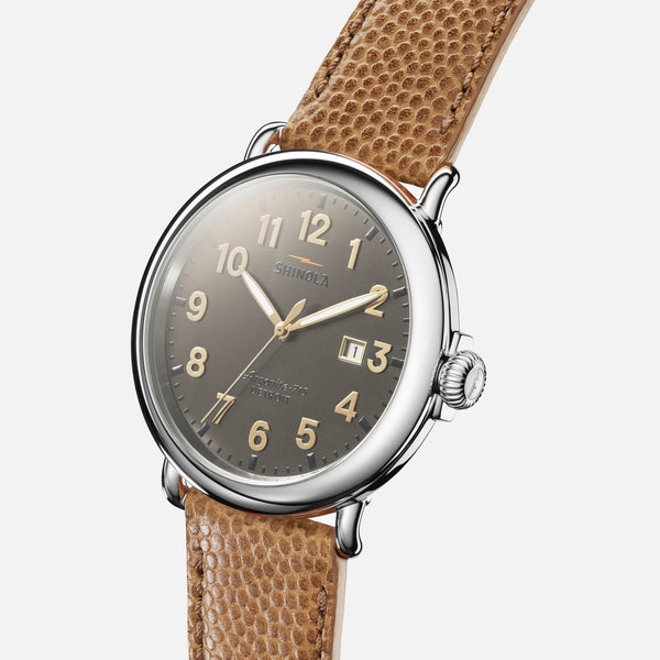 Shinola The Runwell 47MM Men's Gray Watch - Dark Camel Leather Strap