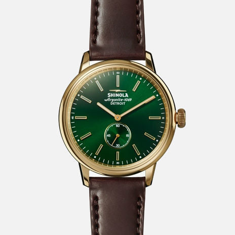 Shinola The Bedrock 42mm Men's Forest Green Watch - Oxblood Cordovan Strap