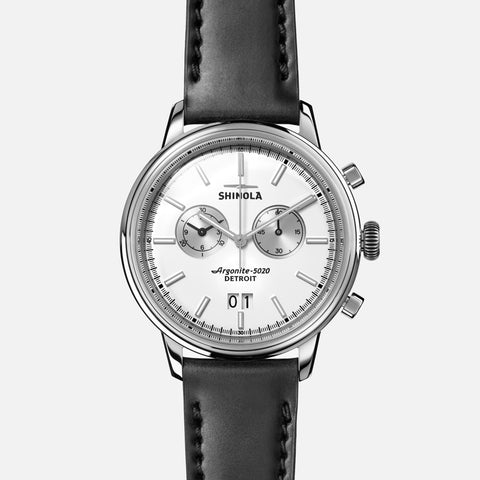 Shinola The Bedrock Chrono 42MM Men's White Watch - Black Leather Strap
