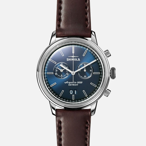 Shinola The Bedrock Chrono 42mm Men's Blue Watch - Oxblood Cordovan Strap