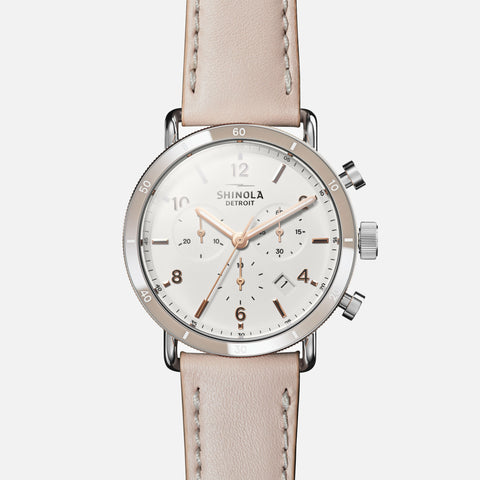 Shinola The Canfield Sport 40MM Women's White Watch - Soft Blush Leather Strap