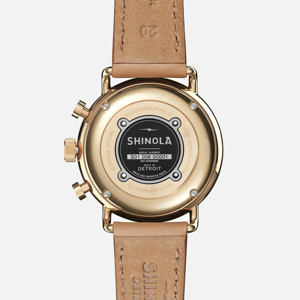 Shinola The Canfield Sport 40MM Women's White Watch - Camel Leather Strap