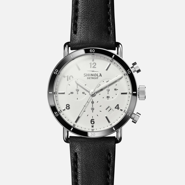 Shinola The Canfield Sport 40MM Men's White Watch - Black Leather Strap