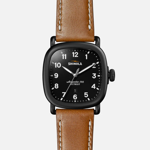 Shinola The Guardian 41.5MM Men's Black Watch - Tan Leather Strap