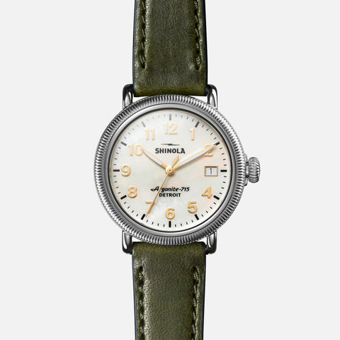 Shinola The Runwell Coin Edge 38MM Women's White Watch - Spruce Leather Strap