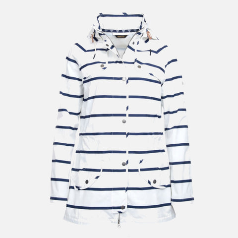 Barbour Stripe Trevose Waterproof Jacket - White/Navy