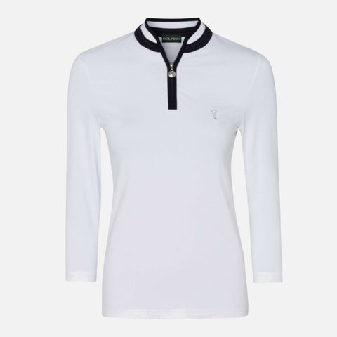 Golfino The Dry Comfort 3/4 Sleeve Troyer - White