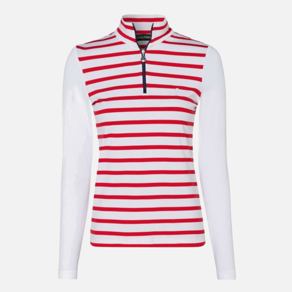 Golfino Ladies Half-Zip Troyer With Contrast Zip - Red Flame