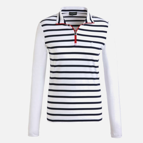 Golfino Ladies Half-Zip Troyer With Contrast Zip - White