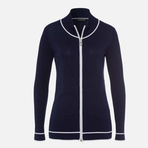 Golfino Pima Cotton Zipper Cardigan - Seven Seas
