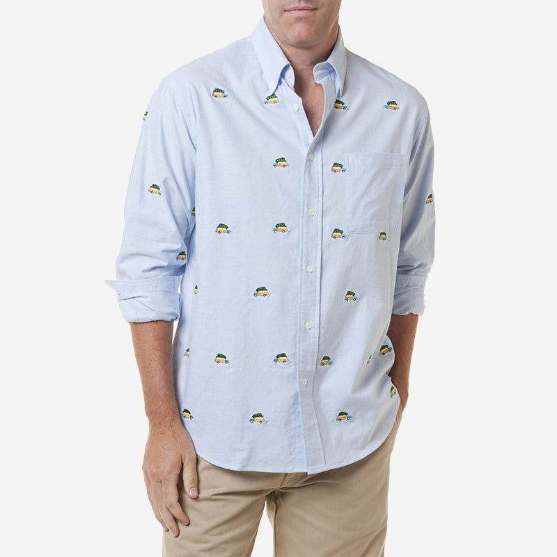 Castaway Chase Shirt - Blue Oxford with Woody & Tree
