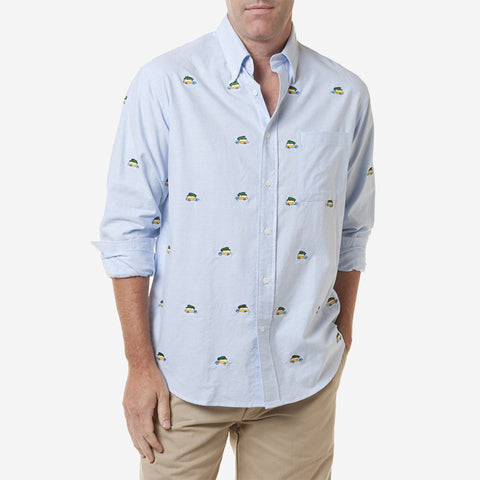 Castaway Chase Mens Shirt - Blue Oxford with Woody & Tree