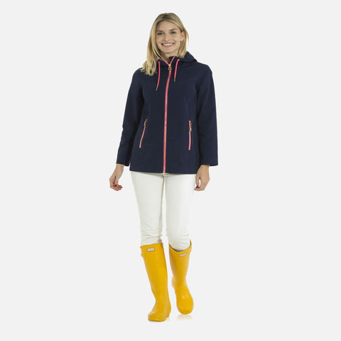 Sail To Sable Hooded Rain Coat - Navy