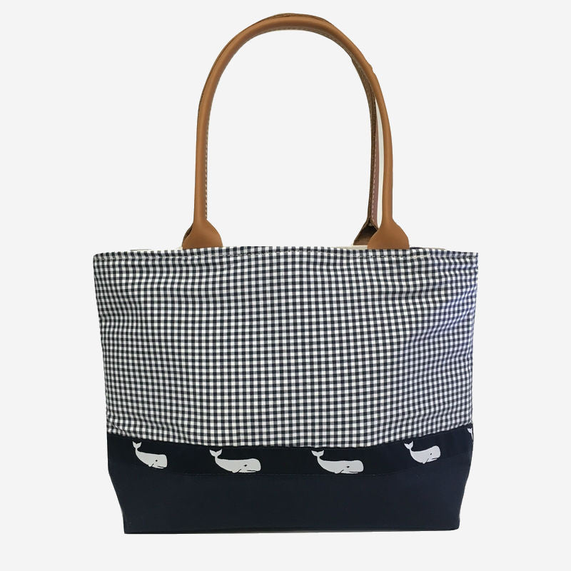 YRI Blue Navy Gingham with Whale Ribbon Tote