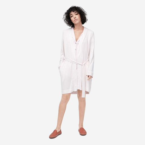 UGG Women's Aldridge Stripe Robe -  Seashell Pink/White