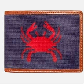 Smathers & Branson Crab Needlepoint Bifold Wallet