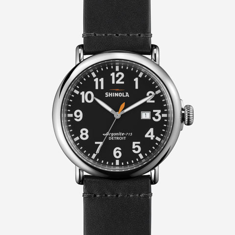 Shinola Runwell 47mm Watch - Black Leather Strap - Black