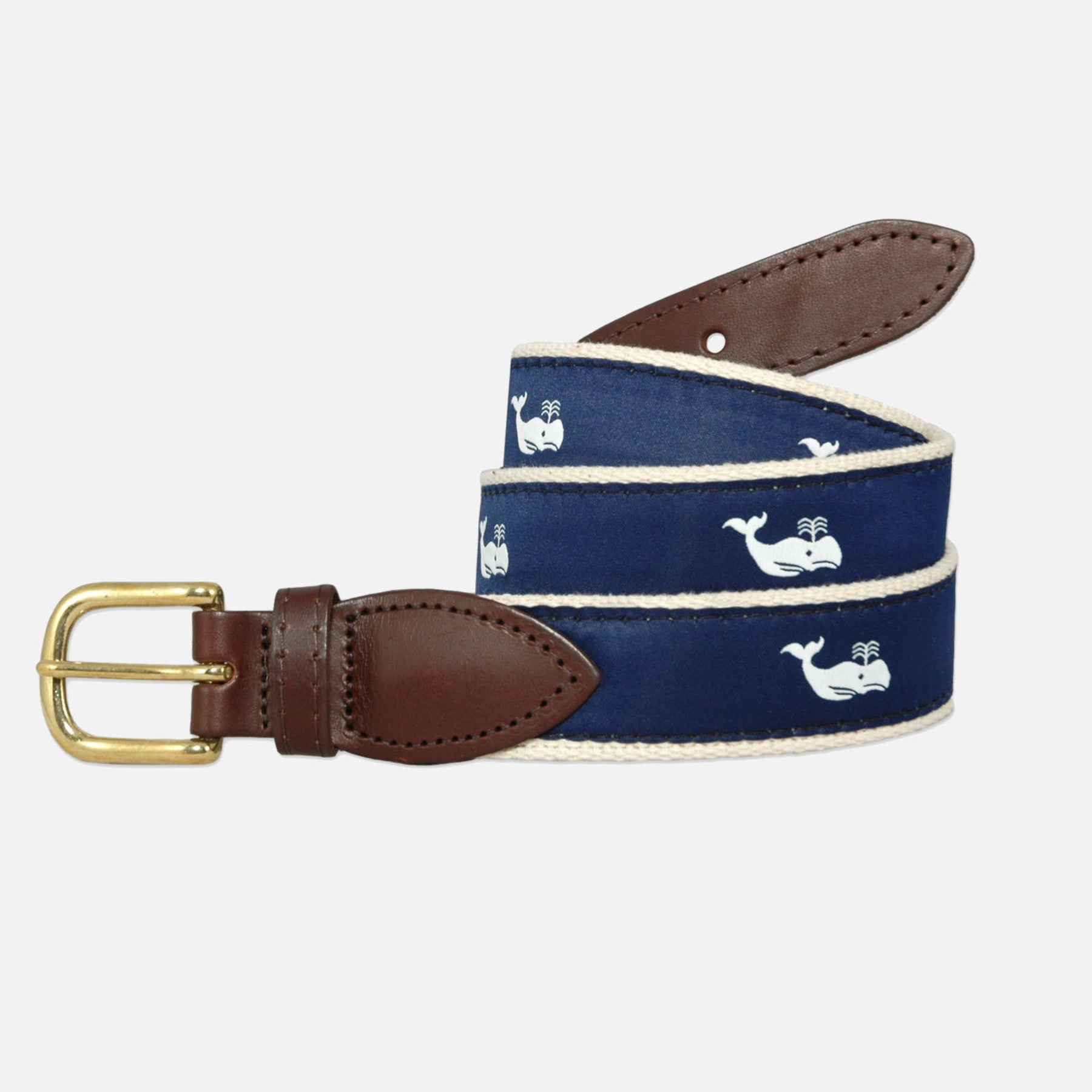 YRI Men's Ribbon Belt - White Whale on Natural Webbing
