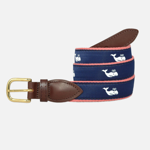YRI Men's Ribbon Belt - White Whale on Red Webbing