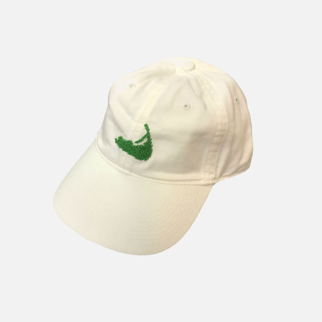 Smathers & Branson Nantucket Island Needlepoint Hat - White/Lime