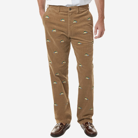 Castaway Beachcomber Corduroy Pant - Khaki with Woody & Xmas Tree