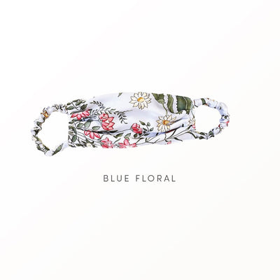 Blue Floral - Reusable Face Covering Accessories Nanor