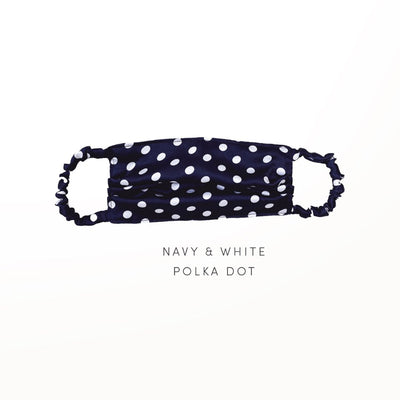 Navy & White Polka Dot - Reusable Face Covering Accessories Nanor