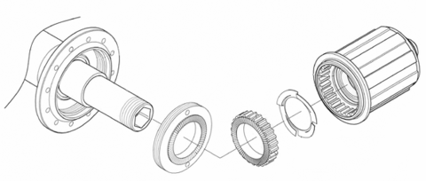 Exploded Diagram of Scribe Cycling Patented Ratchet Drive Hub System