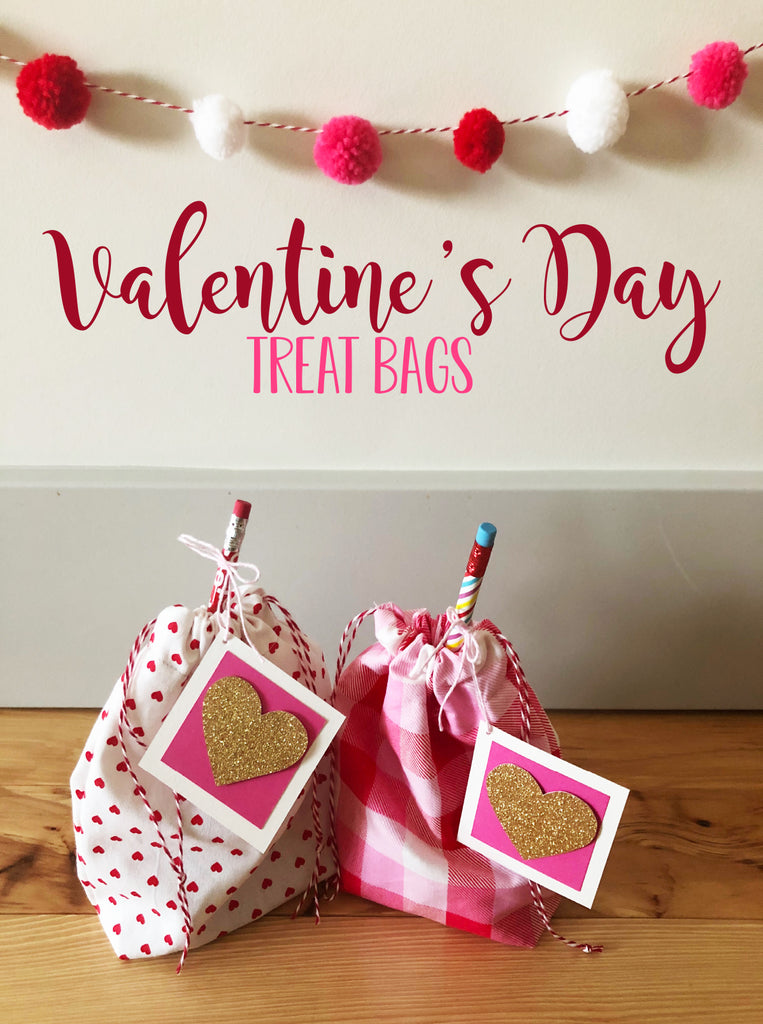 Last Minute Valentine's Day Fabric Treat Bags
