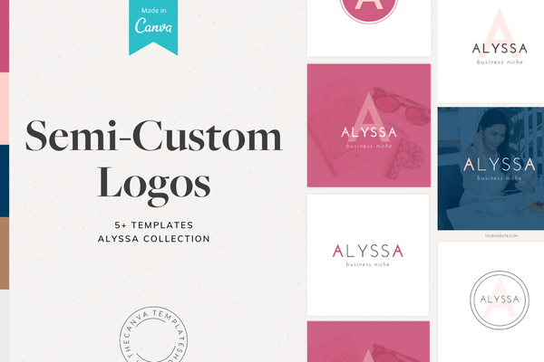The Alyssa Semi-Custom Logo Canva Template Bundle