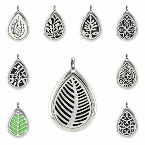 Water Drop Diffuser Necklace Pendant Stainless Steel Essential Oil Aromatherapy Perfume Locket With S.S Necklace With 10pcs Pads