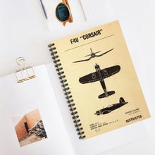 "Load image into Gallery viewer, F4U ""Corsair"" Inspired Spiral Notebook - I Love a Hangar"