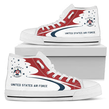 Load image into Gallery viewer, USAF Thunderbirds Display Team Inspired Men's High Top Canvas Shoes - I Love a Hangar