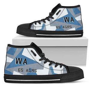 65th Aggressor Squadron Inspired Women's High Top Canvas Shoes - I Love a Hangar