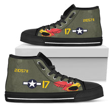 "Load image into Gallery viewer, P-40N Warhawk ""Parrot Head"" Inspired Women's High Top Canvas Shoes - I Love a Hangar"