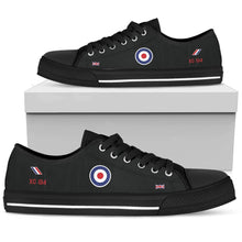 "Load image into Gallery viewer, ""Black Arrows"" Hawker Hunter XG194 Inspired Women's Low Top Canvas Shoes - I Love a Hangar"