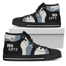 Load image into Gallery viewer, 64th Aggressor Squadron F-16C Inspired Men's High Top Canvas Shoes - I Love a Hangar