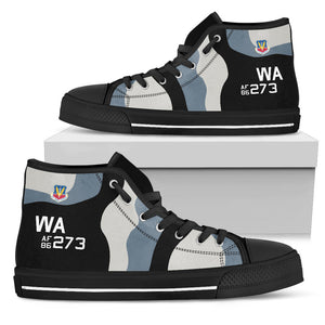 64th Aggressor Squadron F-16C Inspired Men's High Top Canvas Shoes - I Love a Hangar