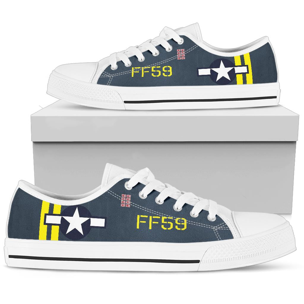F4U Corsair of LtCol Donald K Yost Inspired Women's Low Top Canvas Shoes - I Love a Hangar