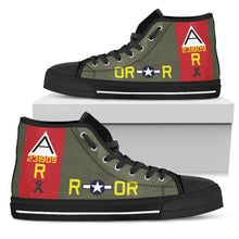 "Load image into Gallery viewer, B-17G ""Nine-O-Nine"" Tribute Women's High Top Canvas Shoes - I Love a Hangar"