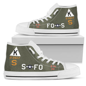"B-17F ""Ye Olde Pub"" Inspired Women's High Top Canvas Shoes - I Love a Hangar"