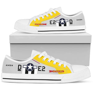 "P-51D ""Detroit Miss"" Inspired Men's Low Top Canvas Shoes - I Love a Hangar"