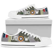 "Load image into Gallery viewer, Spitfire Mk.Vb of ""Paddy"" Finucane Inspired Women's Low Top Canvas Shoes - I Love a Hangar"