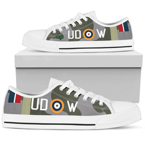 "Spitfire Mk.Vb of ""Paddy"" Finucane Inspired Women's Low Top Canvas Shoes - I Love a Hangar"